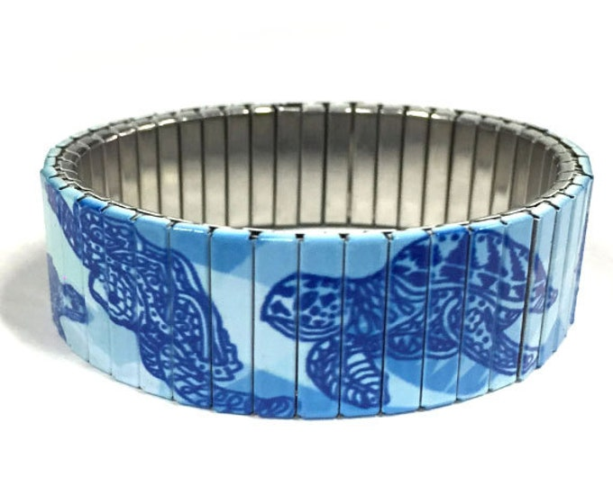 Sea turtles bracelet, Stretch Bracelet, Repurpose Watchband, Sublimation, Stainless Steel, Wrist Band, gift for friends