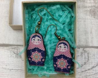 Dark Blue Russian Doll Babushka earrings