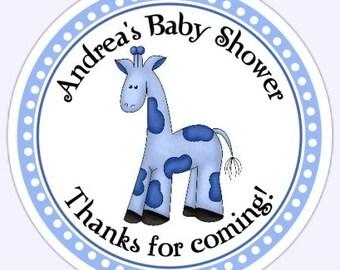 Blue Giraffe Baby Shower Labels, Giraffe Custom Stickers - Personalized for YOU