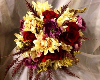 Autumn elegance bridal bouquet and matching boutonniere