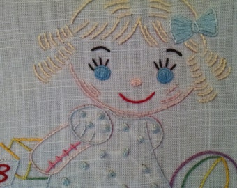 Handmade little girl needle point, vintage needle point, vintage nursery decor, little girls room, needlepoint, embrodiery,baby