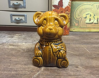 Vintage Honey Bear with Wood Handled Spoon 1982