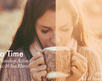 Tea Time - 15 Photo Effects + 10 Bonus Sun Flares INSTANT DOWNLOAD