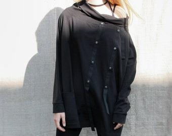 Long sleeves top. Cotton top. Black top. Black tuniс.