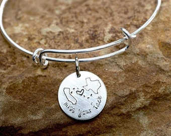 Custom State to State Bangle Bracelet Choose Your States-long distance relationship USA Bracelet State Bracelet girlfriend gift BFF