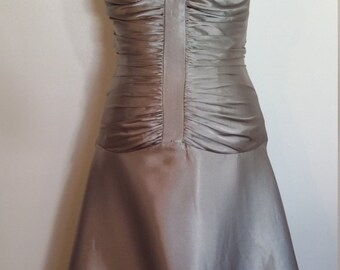 Silver dress, Jessica McClintock dress, halter dress, formal silver dress, formal halter dress, ruched dress, pewter dress, formal dress