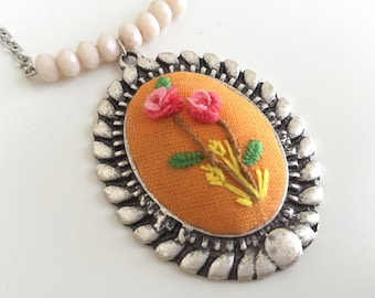 Embroidered necklace. Free shipping US only.
