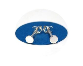 Minimal Stud Earrings, Tiny Flat Studs- Unisex or Mens Studs, 3 mm studs, Nail Studs, Earrings for Men, Dot Studs