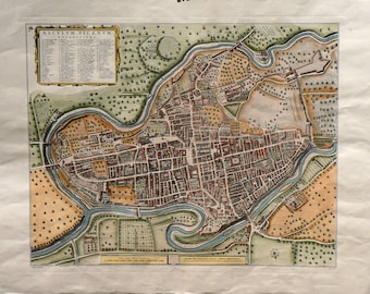 City - Ascoli Piceno/Italy - Cm. 80 x 60 Inches 31,5 x 23,7 - Printed on high quality paper and water-coloured by hand. Since 1940s