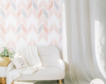 Aztec Herringbone Wallpaper, Traditional or Peel And Stick Removable Wallpaper