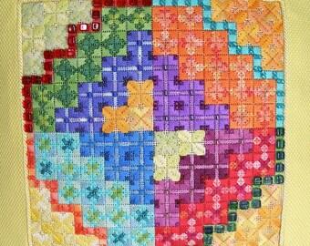 Color Kaleidoscope Geometric Needlepoint Complete Kit