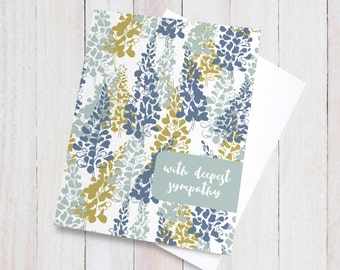 Floral Sympathy Card - With Deepest Sympathy - Bereavement Card - Condolences Card - Thinking of You Greeting Card - Sorry Card