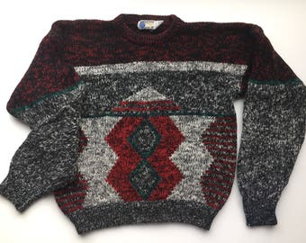 80s 90s geometric pattern sweater, diamond pattern sweater, extra large vintage sweater, 80s gray maroon and red sweater, 1980s 80s sweater