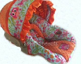 Custom Boutique Cutie Owl/Orange MInky Dot Infant car seat cover 5 piece set