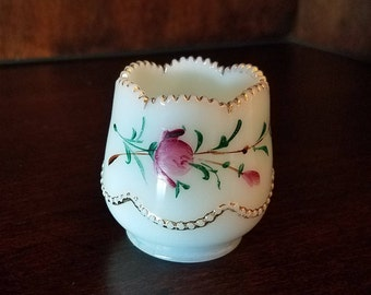 Antique White Glass Hand Painted Toothpick Holder