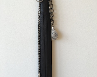 black leather keychain tassel , Long fringe, edgy accessories, goth fashion, leather jewelry