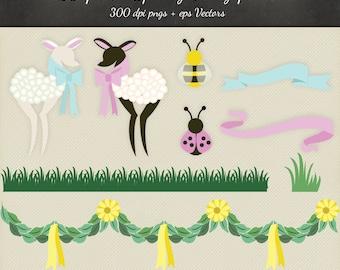 80% OFF SALE Spring Lambs Clipart Vector - 10 Spring Design png & eps Vectors - Digital Scrapbook Lamb Spring Ladybug Bee Grass Clip Spring