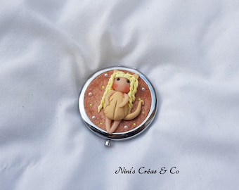 Pocket mirror with polymer clay doll