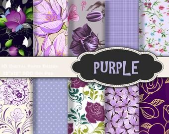 Instant Download Purple Flower Digital Paper Printable Paper Purple Flower Background Paper Purple Digital Scrapbook Paper Pack 0162