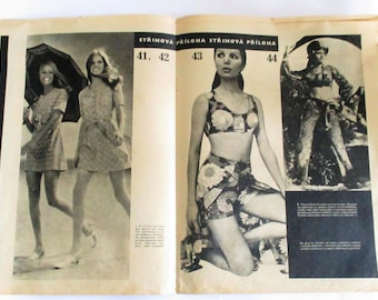 Vintage 70's Fashion Clothing Pattern Czechoslovakia Dressmaking Seven Patterns Summer Clothes Zena & Moda 1972