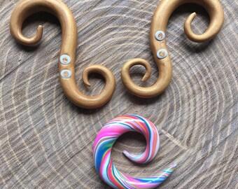 Gold rush spiral ear hanger - Colorfull spiral 0G - 8mm