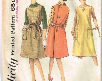 Wrap Around Jumper Dress and Blouse Sewing Pattern Vintage 1960s Simplicity 5028 Bateau Neckline Junior Size 13 Bust 33