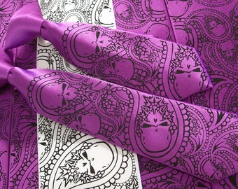 10 skull ties - print to order in colors of your choice - Paisley Skull Neckties by RokGear