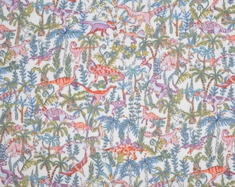 SS18 Liberty fabric  Tana Lawn Rumble And Roar 5x10'' scrap -  blue/green/pink - NEW A Pocket Full of Memories Collection