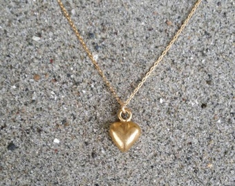 Gold Heart Necklace, Tiny Heart Pendant, Puffed Heart, Matte Gold