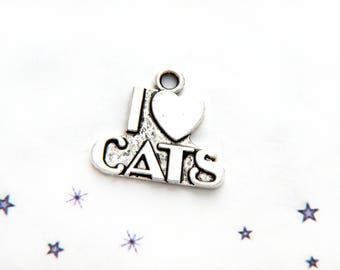 charm I love cats in silver