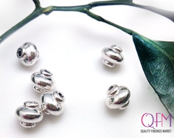 5pcs Hollow Rondelle Spacers beads 8mm sterling silver 925 - beads electroforming  - Chip Spacer  Nugget silver beads