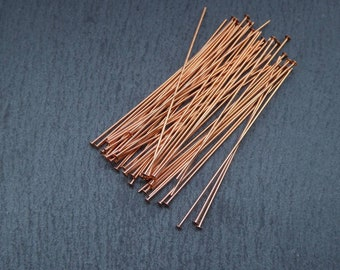 "50pcs Genuine Copper Head Pins - 22g Head Pins - 2"" Head Pins - Solid Copper Findings"