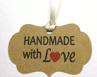 20x Kraft Tag, Handmade with Love Tags