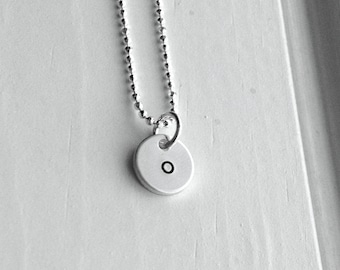 Initial Necklace, Tiny Letter o Necklace, Initial Pendant, Personalized Jewelry, Sterling Silver Jewelry, Initial Charm, All letters, o