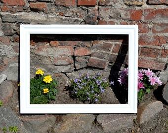 Large wooden photo frame, photo frame, frame with hooks, photo decor, wedding photo frame, large frame, custom color, picture frame, frame