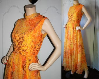 Vintage 1960's Sunset Colored Floral Maxi Dress by Jack Bryan Designed by Dupuis. Small.