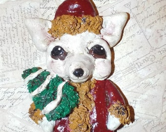 Folk Art Vintage  Chihuahua Santa Claus Ornament Doll