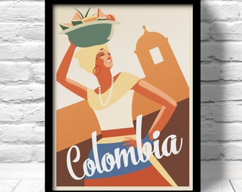 Colombia Poster, Cartagena travel print, Caribbean travel print, colombia wall decor, Caribbean art deco poster, Colombia Art Print