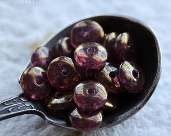 GILDED PINK DISC .. 20 Premium Czech Glass Disc Beads 6x2mm (6084-20)
