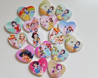 Set of 10 Disney Princess wooden buttons