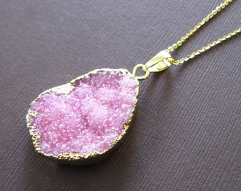 Sparkly Pink Crystal Druzy Gold Dipped Pendant Necklace Pink Drusy Necklace