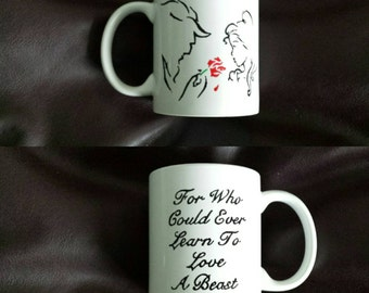 Hand painted mug inspired by Beauty and the Beast