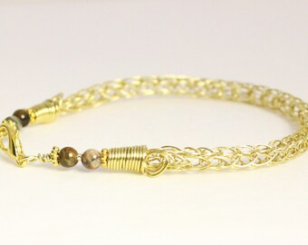 Viking knit bracelet, woven wire brass jewelry, Viking bracelet with agate stones, handmade Norse jewelry