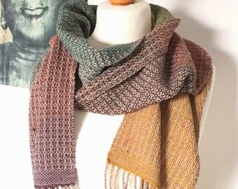 Handwoven cozy tweed scarf