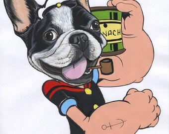 Französische Bulldogge Originalzeichnung / DIN-A4- / gerahmt