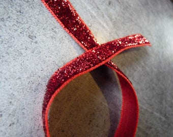 Glitter Ribbon synthetic Red 1 m