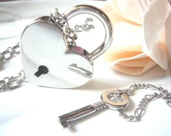 Silver Heart  Lock Key Necklace