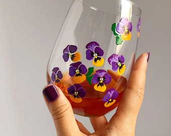 Purple Pansies Hand Painted Wine Glass