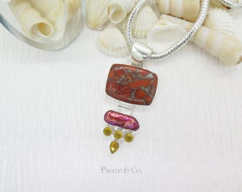 Copper Turquoise Fresh Water Pearl and Citrine Sterling Silver Pendant and Chain