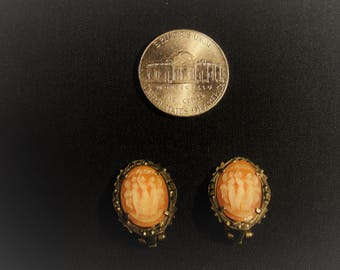 """Antique Cameo """"Three Graces"""" Silver Earrings"""